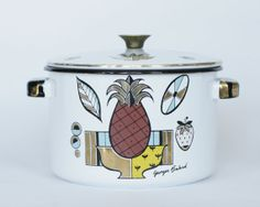 Vintage Georges Briard Enamel Cooking Pot Mid by VonVanVintage, $23.00