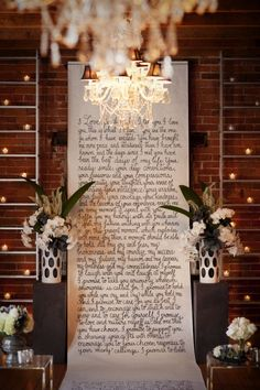 calligraphy wedding vows aisle runner