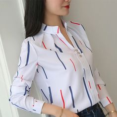Korean Women Shirts Woman Long Sleeve V-neck Blouse Shirt Office Lady Striped White Shirt Plus Size Blusas Mujer De Moda Blouses Plus Size Blouses, Plus Size Tops, White Chiffon Blouse, Chiffon Blouses, Chiffon Tops, Mode Style, Casual Tops, Casual Shirts, Blouse Designs