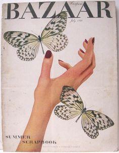 Brodovitch Design on Cover of Harper's Bazaar, July 1946.  For more information please visit https://fashionmagazinecoversblog.wordpress.com/2016/02/22/harpers-bazaar-cover-designed-by-brodovitch-july-1946/