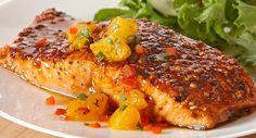 Cool and fruity Orange Salsa complements the sweet 'n smoky seasoned salmon fillets.