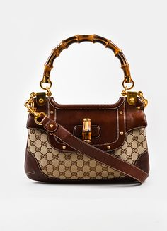 Gucci Brown Canvas Leather Bamboo Monogram Print Shoulder Bag 087ac50aad690
