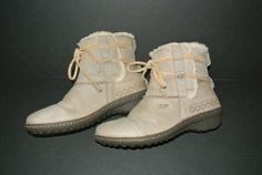 Women's UGG AUSTRALIA Tan Brown Leather Shearling Ankle Boots Size 9 #5136 VGC