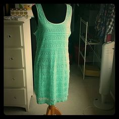 NWT Mint Green Dress Scoop neck lace and lined sleeveless dress. Never worn and is perfect for summer. Extra Touch Dresses