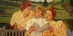 Mary Cassatt Paintings | The Gden Reading - Mary Cassatt - WikiPaintings.org