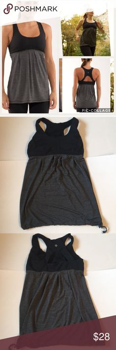 Lululemon Run: Your Heart Out Tank Awesome Lululemon Run:  Your Heart Out Tank.  Only worn a few times.  Built in bra with hook in the back for easier off/on.  Has space for Bra cup inserts, but I took them out.  If you purchase and want them, let me know and I will provide a pair (the lulu store will also give these to you for free if you ask).  Drawstring at bottom for adjustable fit and to hold in place.  Purchased directly from lululemon store.  EUC! lululemon athletica Tops Tank Tops