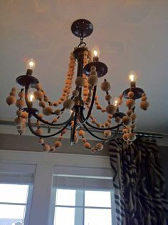 DIY chandelier, but with rhinestone garland instead of beads