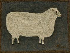 Primitive Ewe Hooked Rug Kit by harwoodhookedonewe on Etsy, $135.00
