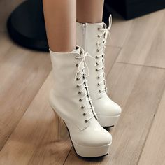 White Lace Up High Heels Fashion Boots on Luulla