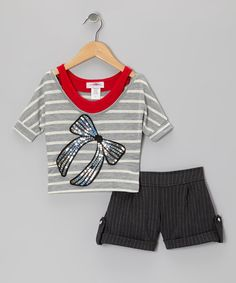 Take a look at this Red Stripe Layered Top & Shorts - Toddler & Girls by High Fashion on #zulily today!