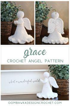 Grace Angel Crochet Pattern Oombawka Design Crochet 2019 Grace features a brand new wing design! Quick to crochet. Crochet Christmas Decorations, Crochet Ornaments, Christmas Crochet Patterns, Holiday Crochet, Crochet Snowflakes, Crochet Crafts, Crochet Dolls, Crochet Projects, Free Crochet