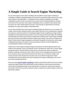 A simple guide to search engine marketing