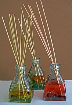 DIY reed diffusers - sweet almond oil, essential oil, jar, & reeds. Sounds easy & cheap! <3