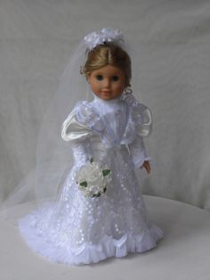 OOAK , Edwardian Era Wedding Gibson Girl Wedding gown, wedding dress, Bridal dress for your American Girl doll American Doll Clothes, Girl Doll Clothes, Doll Clothes Patterns, Girl Dolls, American Dolls, Doll Patterns, Wedding Bride, Wedding Gowns, Bridal Dresses