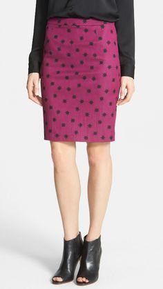 Cute! Polka dot pencil skirt.