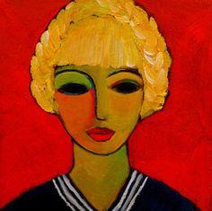 "Saatchi Art Artist Nelly Van Nieuwenhuijzen; Painting, ""Sailor girl with blond braids (SOLD)"" #art"