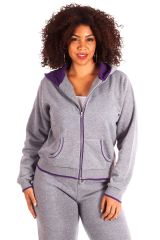 Plus Size Contrast Pipe Fleece Hoodie Jacket