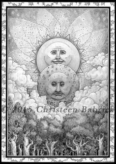 Eclipse Pencil Ink Graphite Sun Moon Stars Forest Trees Fantasy Art Giclee Print by cgbartwork on Etsy