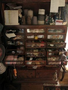 This haberdashery unit would be great for any art, craft or sewing room.  Everything would be neatly organized and stored but easy to find because of the glass fronts.  No more guessing and going from one place to another to find that one thing that is needed to finish a project.