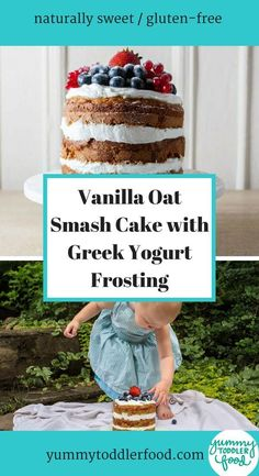 If you're looking for a special first birthday cake—or second, or third birthday cake!—you'll love this vanilla oat smash cake with greek yogurt frosting. Healthy Birthday Cakes, Birthday Desserts, Healthy Cake, First Birthday Cakes, Third Birthday, Baby First Cake, Geek Birthday, Birthday Ideas, Smash Cake Recipes
