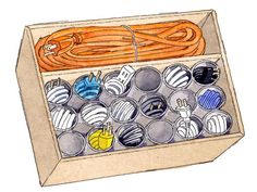 Organizing Ideas - Home Organization Ideas - Redbook.  Use toilet paper rolls to store electrical cords upright in a drawer.