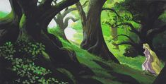 Rapunzel in the forest by Kevin Nelson | Digital Source: The Art of Tangled, pg 89 [scanned]