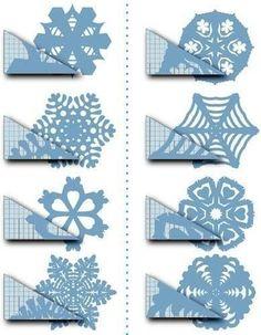 Schneeflocken aus Papier basteln- Anleitung. Auf folgende Seite finden Sie viele verschieden Schablonen und Anleitungen für Schneeflocken.