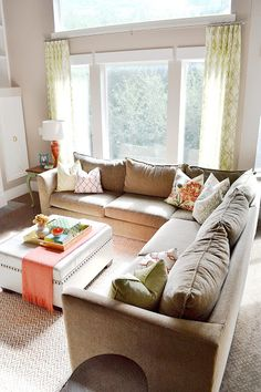 Beautiful and comfortable sectional sofa - love all the pillows eclecticallyvintage.com