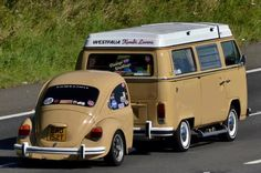 VW camper van and trailer.