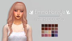 "Emma Hairstyle | by @mystufforigin The original mesh is required and you can download it here. • 20 naturals and unnaturals hair colours. • Custom Thumbnail ""DOWNLOAD (simfileshare) "" TOU. please do not redistribute my custom content. (more hair..."