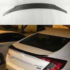 74.74$  Watch now - http://ali22q.worldwells.pw/go.php?t=32753322906 - ABS Material Fake carbon fiber looking Rear Trunk Wing Spoiler for Hon da Civic Sedan 2015-2016 74.74$