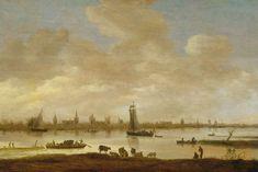 Gezicht op een gefantaseerde stad aan een rivier met de toren van Saint Pol uit Vianen, Jan van Goyen, 1649; collectie Rijksmuseum