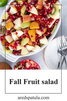 This wonderful salad loaded with seasonal fall fruits is perfect for any occasion. For snacking, sides, and even desserts. It is gluten free, vegetarian, and low fat!