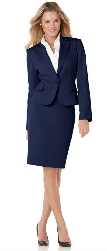 Catherine Navy Blue Skirt Suit by Nooshin Banner - Womens business