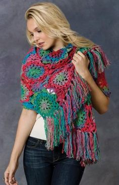 Crochet Lorelei Shawl-free pattern from Red heart.  I LOVE this shawl and I love the yarn used!