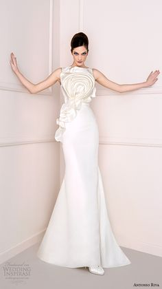 antonio riva 2016 bridal dresses bateau neckline floral decorated bodice chic sheath wedding dress amanda