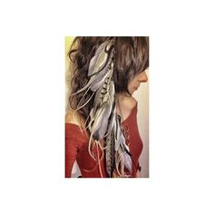 Long Feather Extension Hair Clip Feather Hair Piece Hair Falls Feather... ❤ liked on Polyvore featuring accessories, hair accessories, feather hair accessories, hair clip accessories, long hair clips, barrette hair clips and long hair accessories