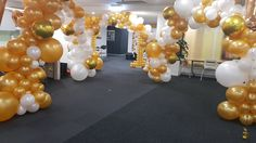 Organic white and gold arches. www.balloons.net.au