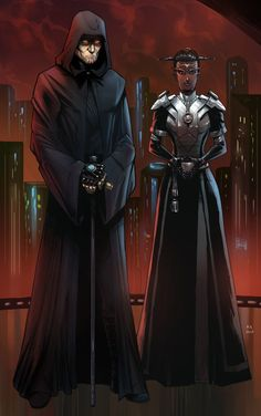 Darth Iradox and Seisu (Commission) by KaRolding on DeviantArt Star Wars Sith, Star Wars Droids, Star Wars Rpg, Star Wars Characters Pictures, Star Wars Images, Dune Film, Sith Costume, Star Wars The Old, Star Wars Concept Art