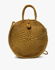 Woven circle bag from Abacá in Mustard. Shoulder strap. Two top handles. Button-and-loop closure. Jute interior pocket with branded leather patch. Unlined. Due to the handmade nature of this item, there may be slight variations in appearance. • Natura