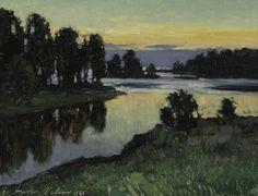 Grigor Auer: Iltarusko Valamon Karjahovin rannasta 1928