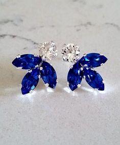 a4696db9a Saphir Ohrringe, blaue Ohrringe, Braut Ohrringe, Brautjungfern Geschenk,  Cluster Ohrringe, blaue