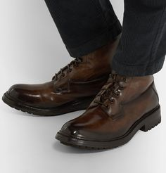 Officine Creative Exeter Burnished-leather Boots In Brown Officine Creative, Exeter, Leather Boots, Shoe Boots, Oxford Shoes, Mens Fashion, Brown, Shopping, Moda Masculina