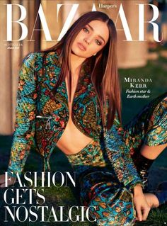 Miranda Kerr in a colorful printed jacket and pant combo. Kai Z Feng for Harper's Bazaar Australia