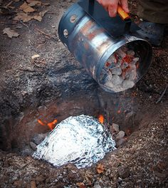 This is our Pit Roasted Turkey Luau Recipe. You dig a hole, add coals, put your turkey on top of them, add more coals, and bury the whole thing...