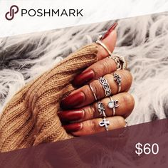 Jewelry | 10 piece silver ring set I set available in gold // brand new // never worn // all midi rings sized at approx 4.5 // these are great stocking stuffers! // will fit anyone since they don't have to go all the way down // more pics coming soon // just ask to be tagged in the listing for the gold set! Karis' Kloset Jewelry Rings