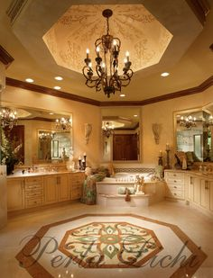 Beautiful master bath suite with step up tub and cupola ceiling.  Gorgeous flooring tile design. | Perla Lichi  ᘡղbᘠ