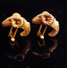 Khnum Cufflinks /  Vintage Ram set / diety God jewelry / gold Sheep / Gold mythical set / Astrology gift / Leo Sagittarius gift