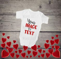 MOCK Up BABY Onesies VALENTINE'S Day blank white png and