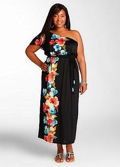 One shoulder floral print maxi dress #dress #fashion #style